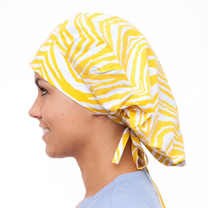 African Sun Pattern Poppy Scrub Bouffant Hat