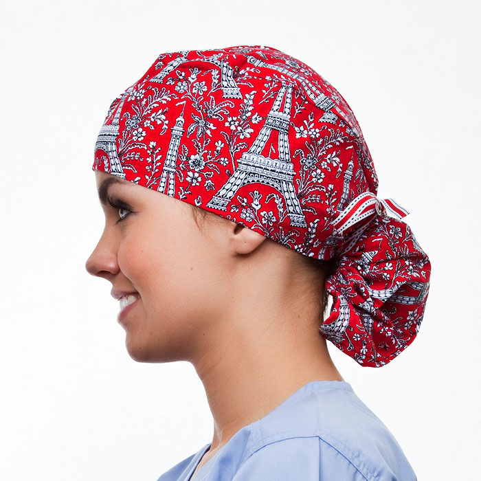 Parisian pony tail surgical surgical ponytail hat for women