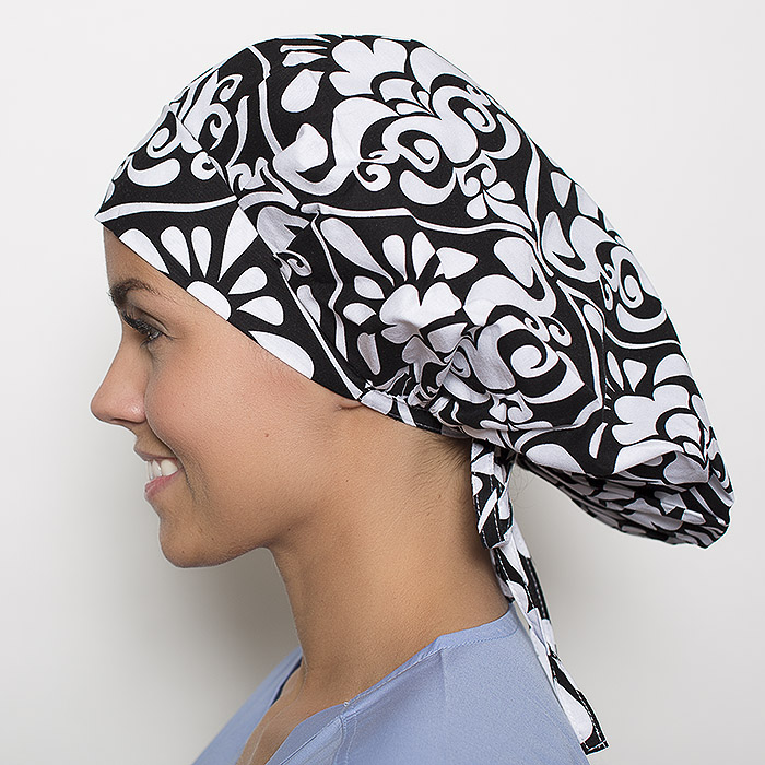 Hayworth Damask Pattern Poppy Scrub Bouffant Hat