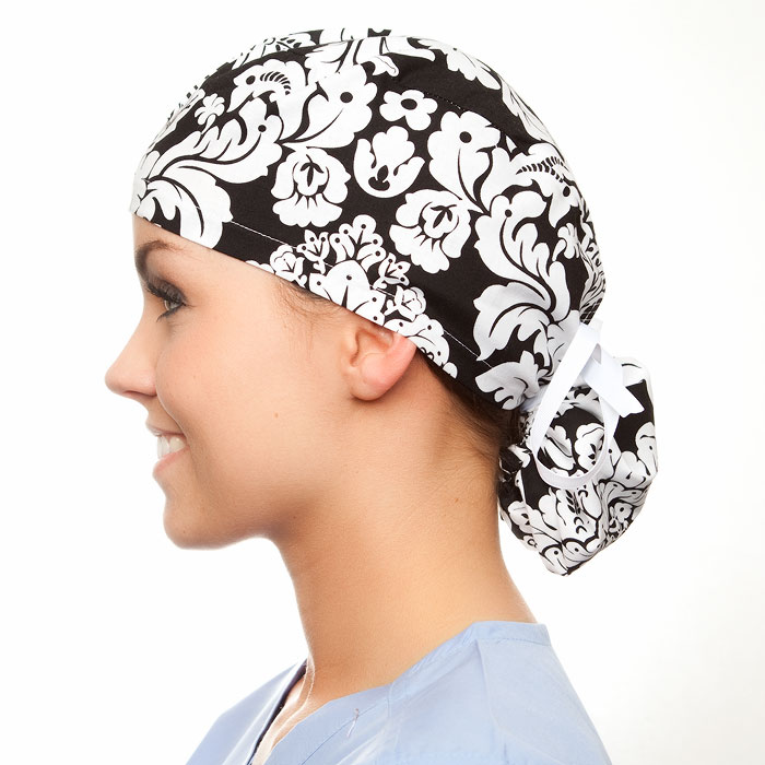 Samantha pony tail surgical surgical ponytail hat for women