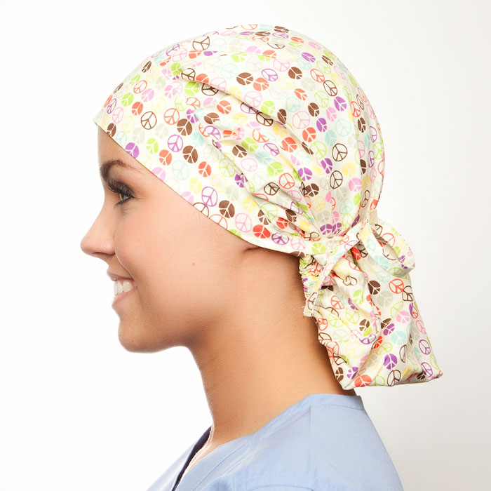 Peace of Mind print scrubs fabric for the operating room hat