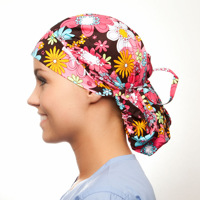 Hippie Chick Pattern Poppy Scrub Bouffant Hat