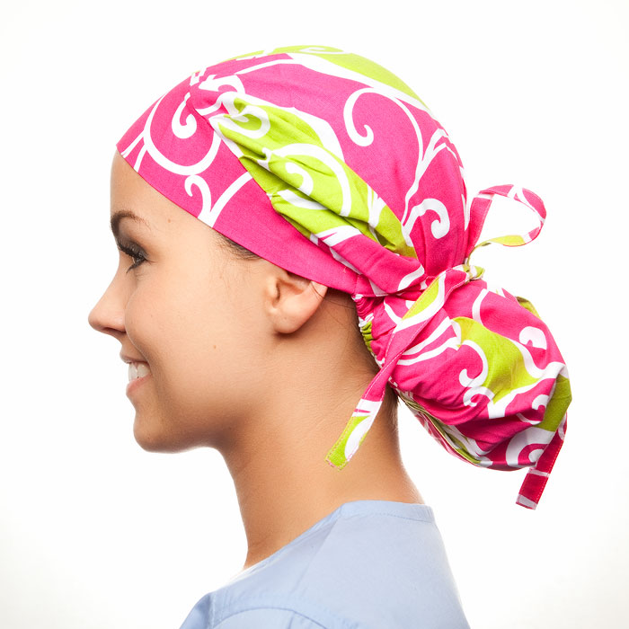 Love Lodge Pattern Poppy Scrub Bouffant Hat