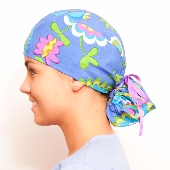 August Retreat pony tail surgical surgical ponytail hat for women