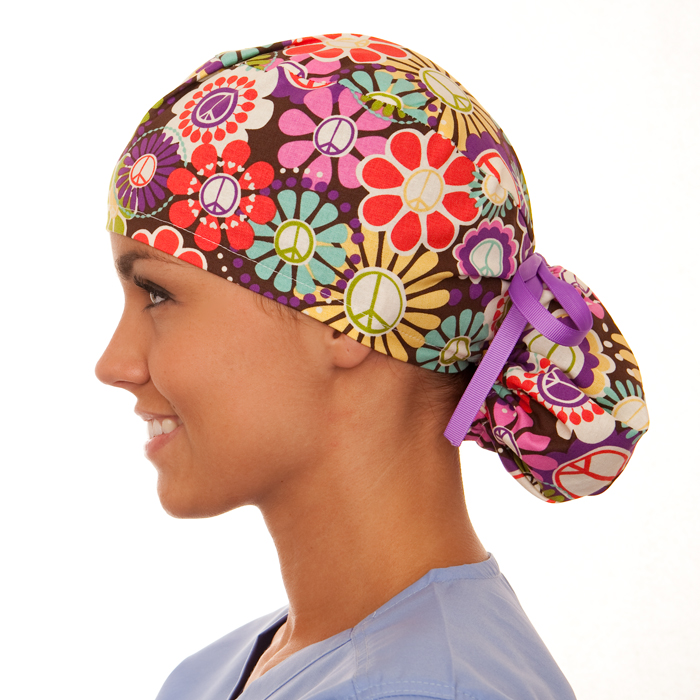 Bohemian Blooms pony tail surgical surgical ponytail hat for women