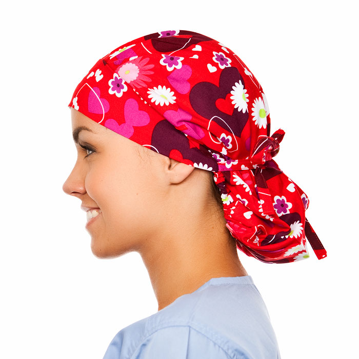 Allure Pattern Poppy Scrub Bouffant Hat