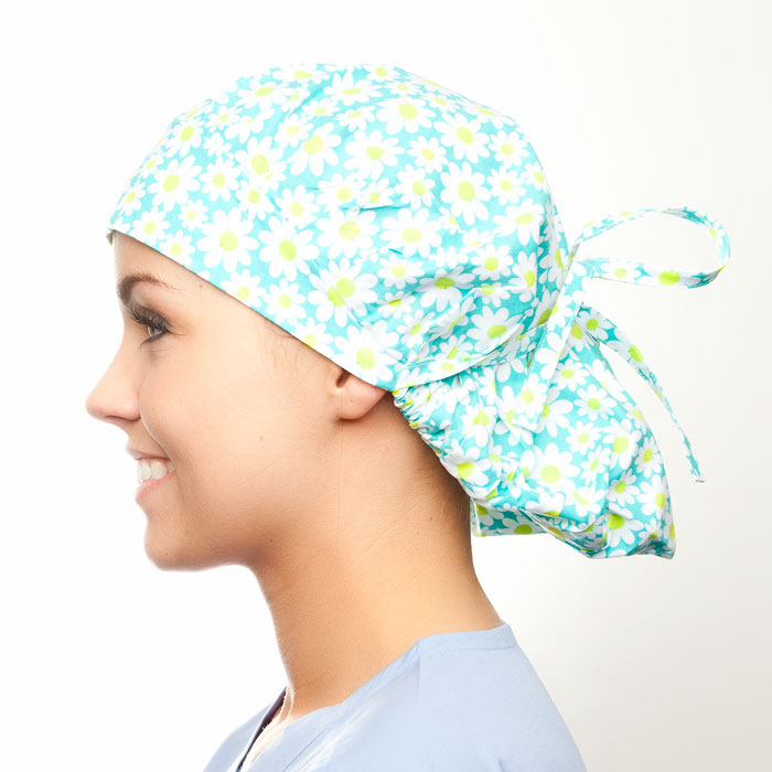 Spearmint print scrubs fabric for the operating room hat