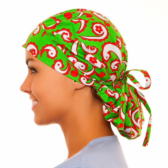 Mistletoe Pattern Poppy Scrub Bouffant Hat