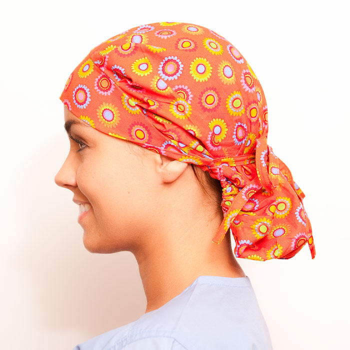 Orange Slush Pattern Poppy Scrub Bouffant Hat