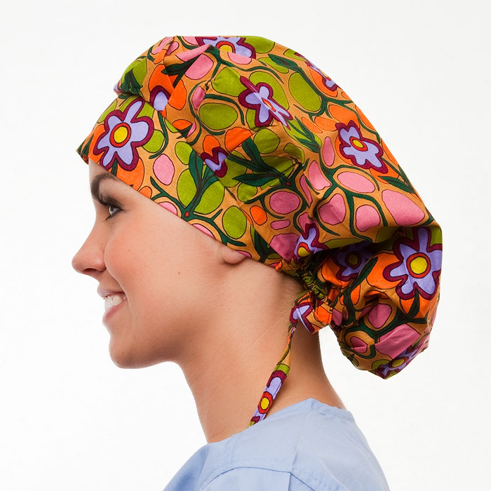 Maple Valley Pattern Poppy Scrub Bouffant Hat