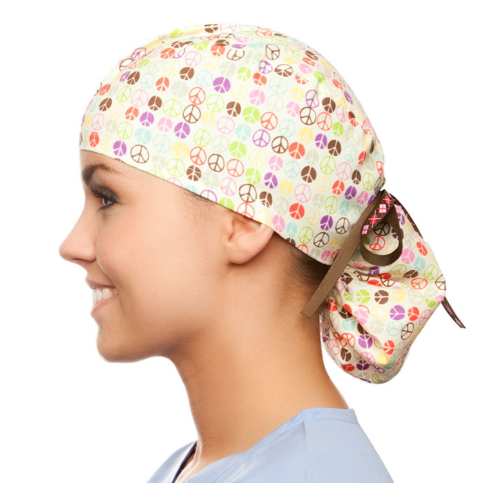 Peace of Mind pony tail surgical surgical ponytail hat for women