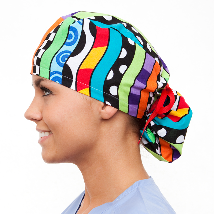 Apex Pattern Poppy Scrub Bouffant Hat