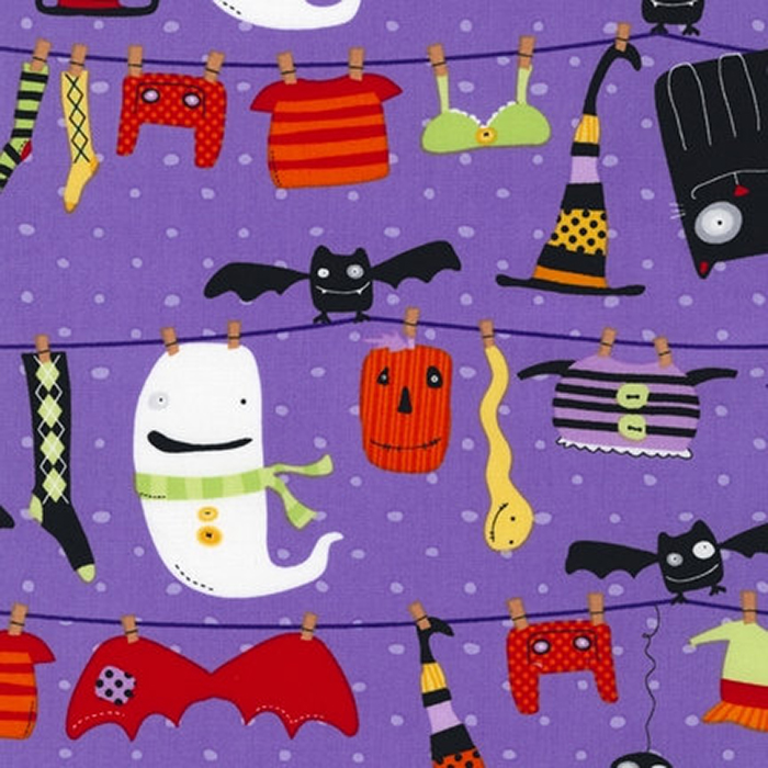 Spooky Clothesline pixie scrubs fabric for the operating room hat