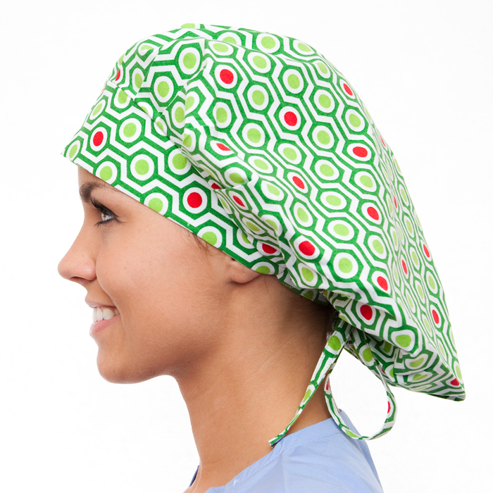 Alpine Pattern Poppy Scrub Bouffant Hat