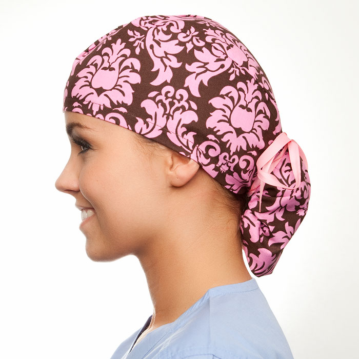 Cocoa Damask pony tail surgical surgical ponytail hat for women