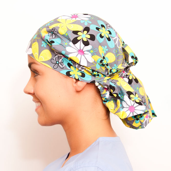 Concetto Pattern Poppy Scrub Bouffant Hat