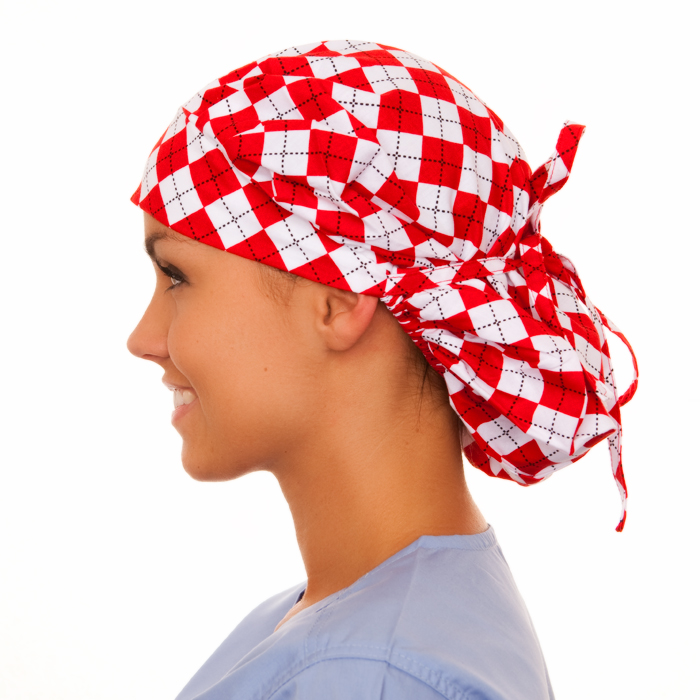 Aldridge Argyle Pattern Poppy Scrub Bouffant Hat
