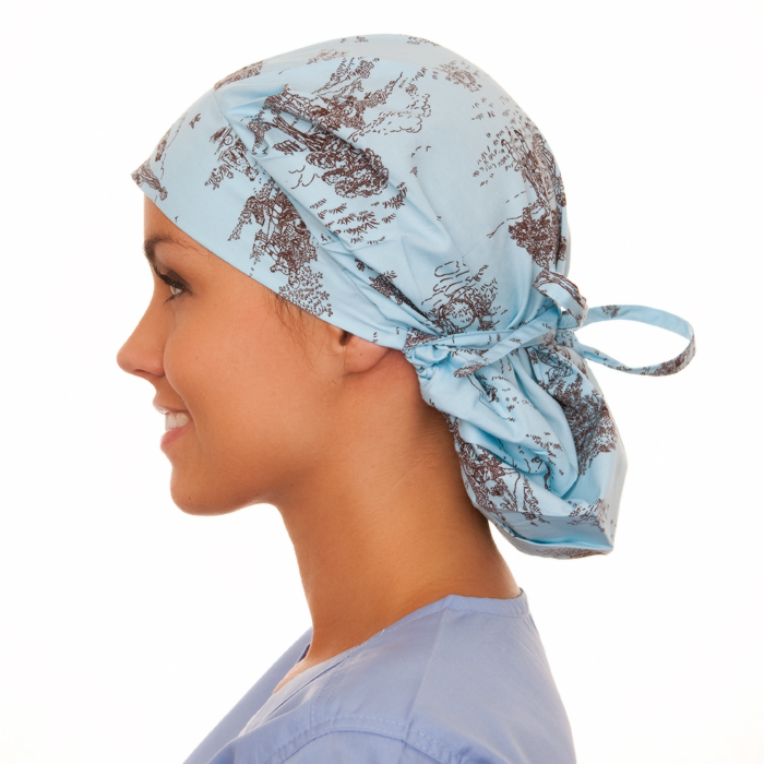 Jamestown Toile Pattern Poppy Scrub Bouffant Hat