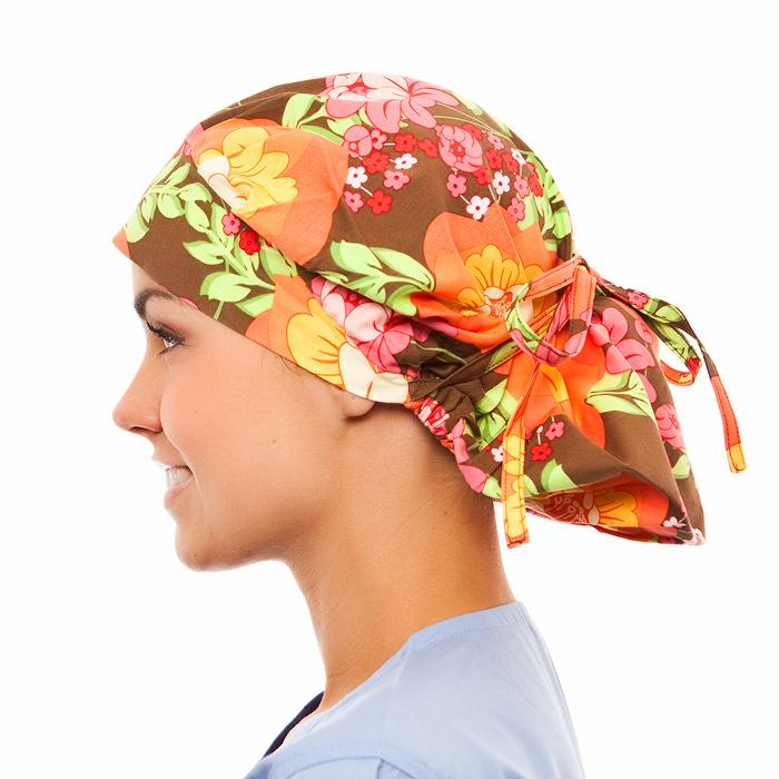 Bradley Floral Pattern Poppy Scrub Bouffant Hat