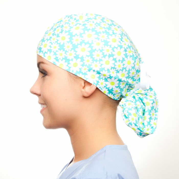 Spearmint pony tail surgical surgical ponytail hat for women