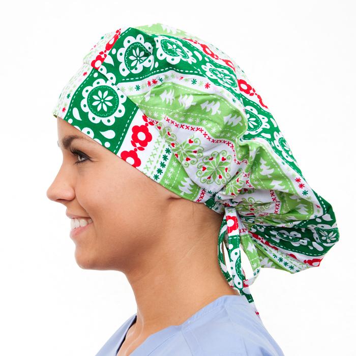 A Dickens Christmas Pattern Poppy Scrub Bouffant Hat