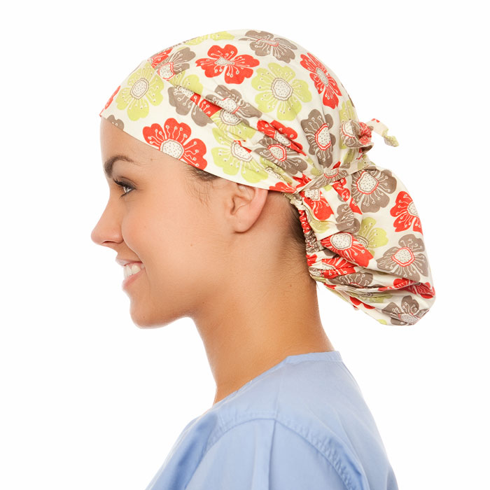 Prescott Pattern Poppy Scrub Bouffant Hat
