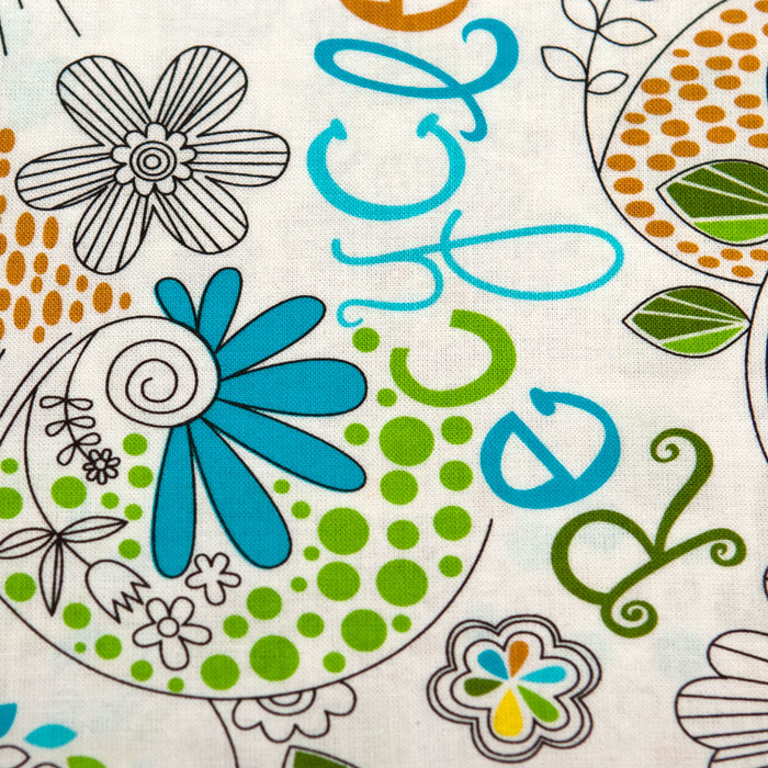 Doodle print scrubs fabric for the operating room hat