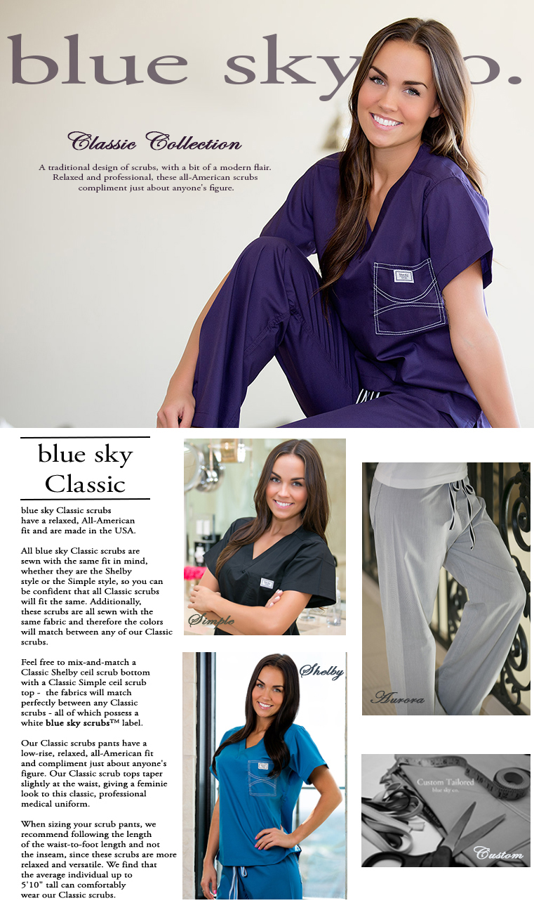 blueskyscrubs.com Classic Scrubs for Women