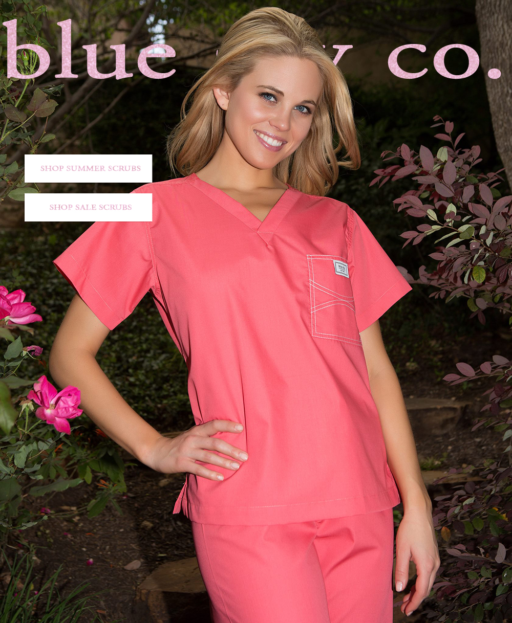 summer scrubs in pretty pink