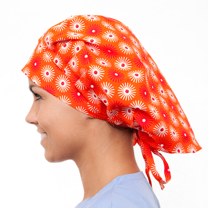 Acacia Pattern Poppy Scrub Bouffant Hat