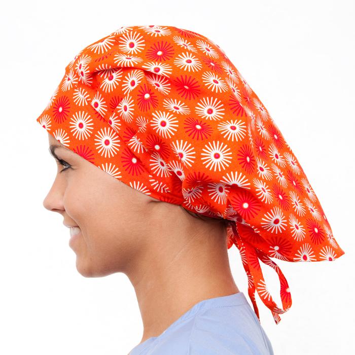 Acacia Pattern Poppy Scrub Bouffant Hat