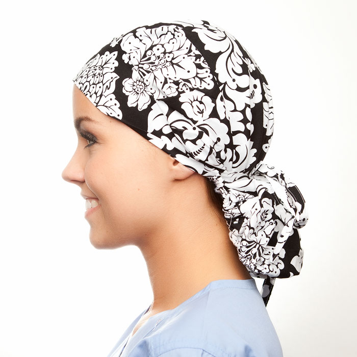 Samantha print scrubs fabric for the operating room hat
