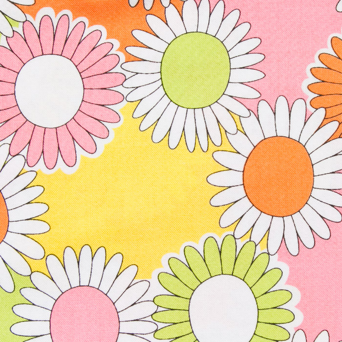 Dancing Daisies print scrubs fabric for the operating room hat