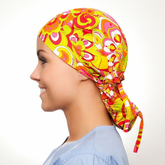 Cosmopolitan Pattern Poppy Scrub Bouffant Hat