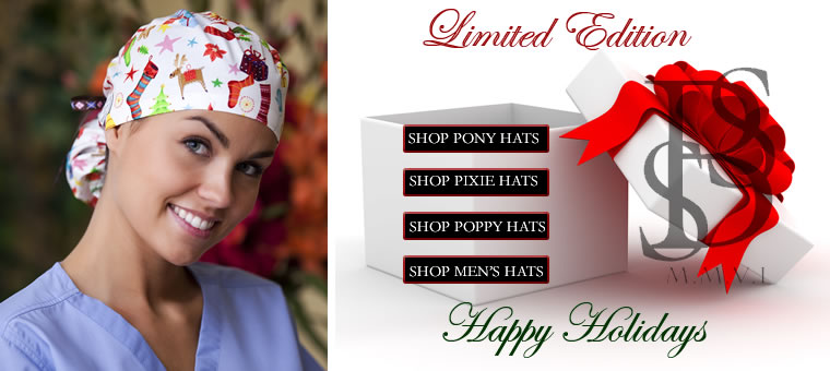 Christmas printed scrubs and Seasonal Holiday Surgical hats